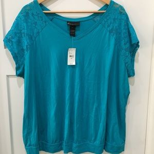 Lane Bryant NEW Solid Top with lace sleeve 18/20